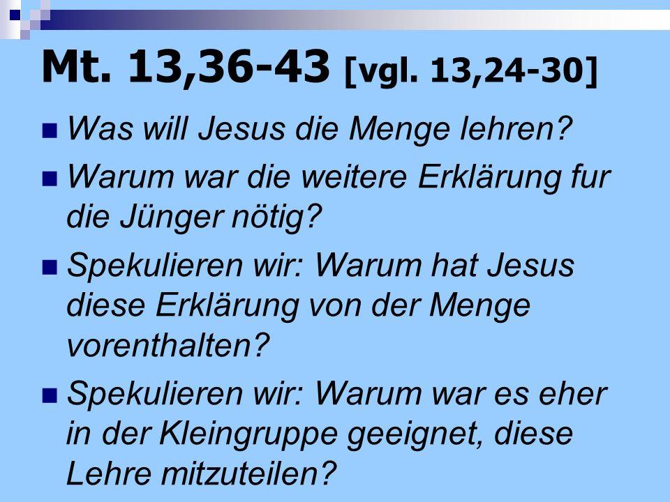 Mt. 13,36-43 [vgl. 13,24-30] Was will Jesus die Menge lehren